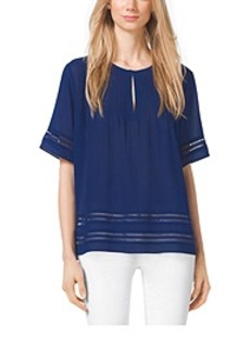 Lace-Trimmed Georgette Top