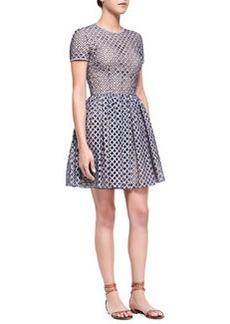 Lattice Gingham Fit-and-Flare Dress, Indigo/White   Lattice Gingham Fit-and-Flare Dress, Indigo/White