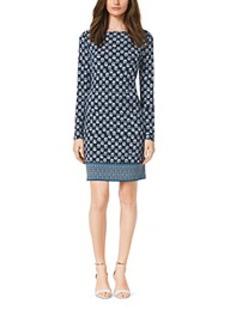 Leaf-Print Jersey Dress