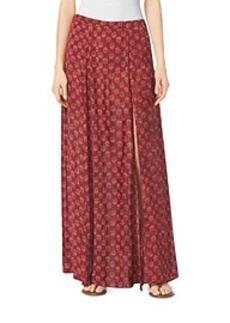 Leaf-Print Maxi Skirt