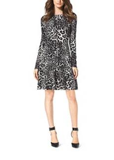 Leopard-Print Cotton-Blend Sweater Dress