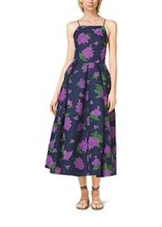 Lilac-Embroidered Silk and Wool Mikado Dress