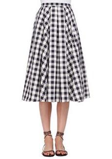 Macro Gingham Midi Skirt, Black/Muslin   Macro Gingham Midi Skirt, Black/Muslin