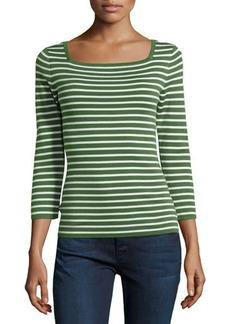 Michael Kors 3/4-Sleeve Cashmere Top, Grass/Optic White