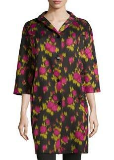 Michael Kors 3/4-Sleeve Floral-Print Balmacaan Coat