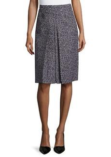 Michael Kors A-Line Center-Pleat Skirt, Black/White