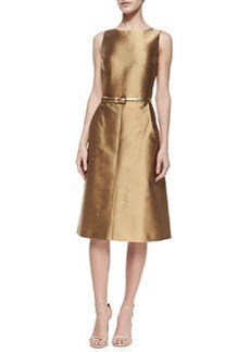 Michael Kors A-Line Shantung Dress, Beige