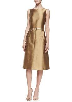 Michael Kors A-Line Shantung Dress, Beige