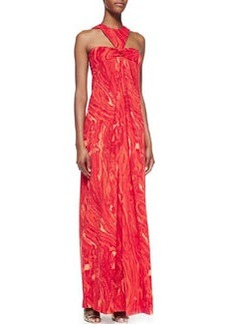 Michael Kors Agate-Print Halter Gown