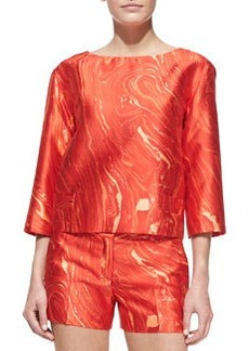 Michael Kors Agate-Print Shantung Cropped Tunic