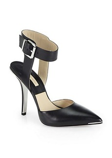 Michael Kors Alanna Leather Ankle-Strap Pumps