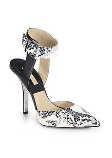 Michael Kors Alanna Snakeskin & Leather Ankle-Strap Pumps