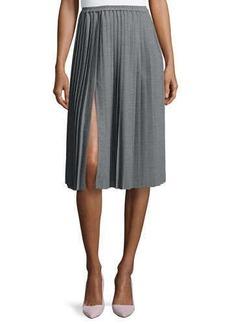 Michael Kors Allover Pleated Midi Skirt, Banker Melange