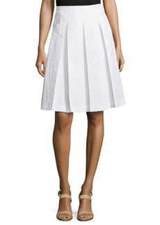 Michael Kors Animal-Print Pleated Skirt, Optic White