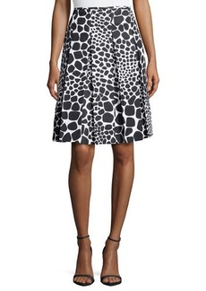 Michael Kors Animal-Print Pleated Skirt, White/Black