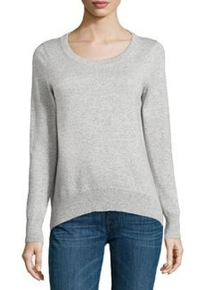 Michael Kors Arch-Hem Knit Sweater, Pearl Melange
