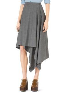 Michael Kors Asymmetric Draped Stretch-Wool Skirt