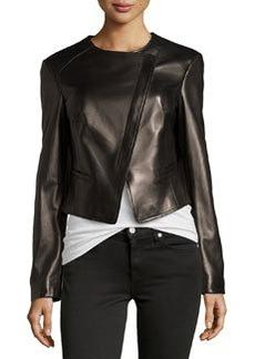 Michael Kors Asymmetric Leather Jacket, Black