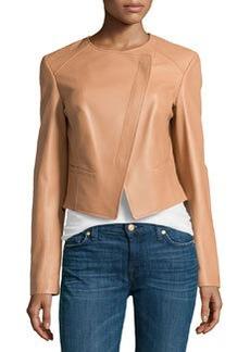 Michael Kors Asymmetric Leather Jacket, Suntan