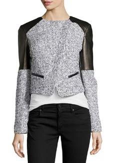 Michael Kors Asymmetric Tweed Jacket with Plonge Leather