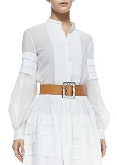 Michael Kors Band-Collar Pleated Shirt, Optic White