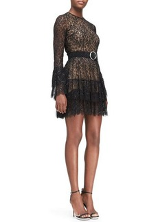Michael Kors Beaded Lace Tiered-Skirt Dress