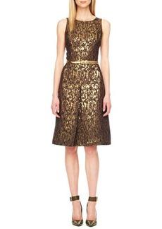 Michael Kors Belted Jacquard Dress