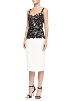 Michael Kors Belted Lace-Top Sheath Dress, Ivory/Black