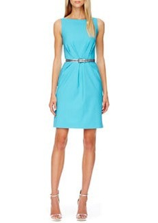 Michael Kors Belted Pleated Crepe Dress, Aqua