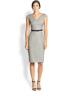 Michael Kors Belted Wool Pencil Dress