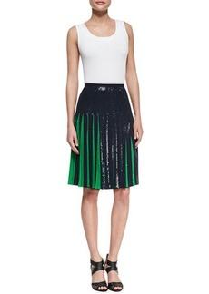 Michael Kors Bicolor Sequined Pleated Skirt