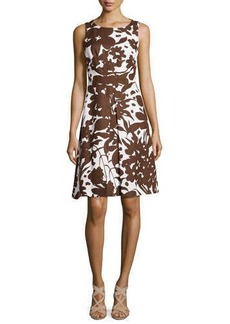 Michael Kors Blossom-Printed A-Line Dress, Optic White/Nutmeg