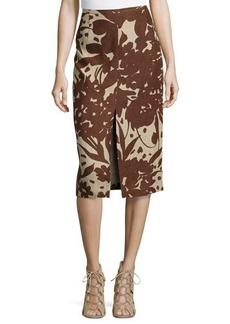 Michael Kors Blossom Serge Pencil Skirt, Hemp/Nutmeg