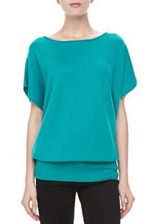 Michael Kors Boat-Neck Cashmere Top, Turquoise