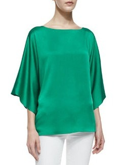 Michael Kors Boat-Neck Charmeuse Top, Emerald
