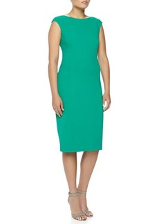 Michael Kors Boat-Neck Stretch Wool Sheath Dress, Emerald, Women's