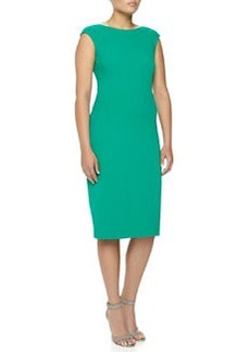 Michael Kors Boat-Neck Stretch Wool Sheath Dress, Emerald, Women's