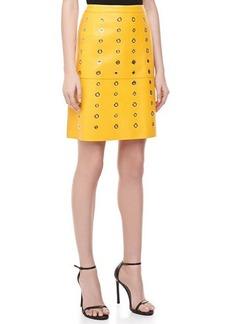 Michael Kors Bonded Plonge Leather Grommet Skirt