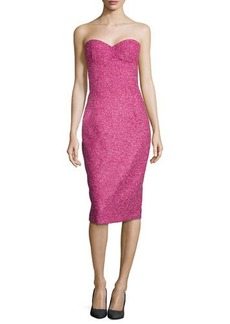 Michael Kors Boucle Tweed Bustier Dress, Peony/Begonia