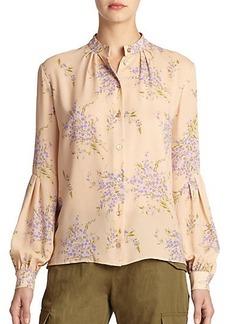 Michael Kors Bouquet Floral Silk Blouse