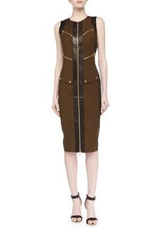 Michael Kors Broadcloth Utility Zip Dress, Olive