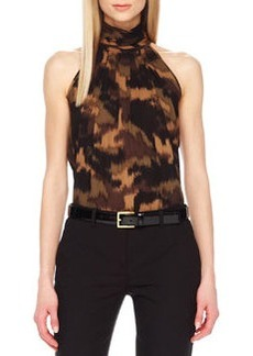 Michael Kors Brushstroke-Print  Sleeveless Halter Top