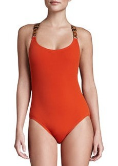 Michael Kors Buckled Cross-Back Maillot, Sienna