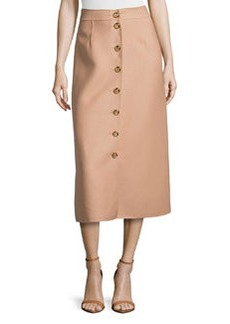 Michael Kors Button-Front Midi Skirt, Suntan