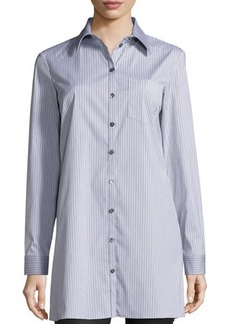 Michael Kors Button-Front Skinny-Stripe Long Shirt