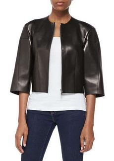 Michael Kors Calfskin Leather Cropped Jacket