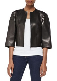 Michael Kors Calfskin Leather Cropped Jacket