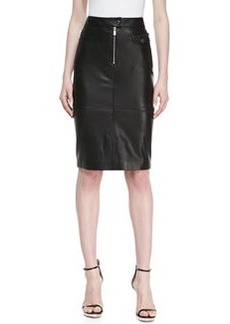 Michael Kors Calfskin Leather Zipper Pencil Skirt, Black
