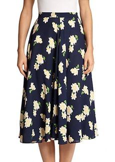 Michael Kors Camellia-Print Silk Skirt