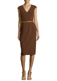 Michael Kors Cap-Sleeve Belted Sheath Dress, Nutmeg